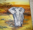 Ölbild Elefant